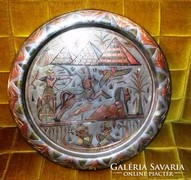 Nagy egyiptomi réz tál, fali dísz