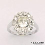 1,7 karátos antik gyémánt gyűrű, 14K fehér arany, felújított