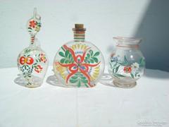 Három darab kézzel festett üveg - együtt eladó