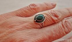 Szépséges antik malachitköves ezüstgyűrű