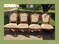 4db faragásokkal díszített szék,feújítandó