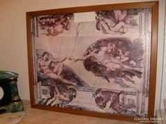 Michelangelo mennyezeti freskó,nyomat,73X60CM