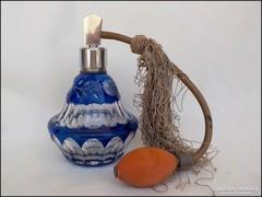 Hántol csiszolt kék parfümös üveg