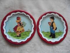 2darab népi festett tányér