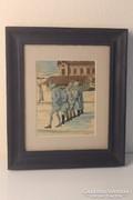 Katonák a hóban 1916, akvarell