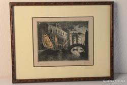 Gimes Lajos: Chioggiai részlet színezett rézkarc
