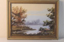 Tópart gólyával akvarell