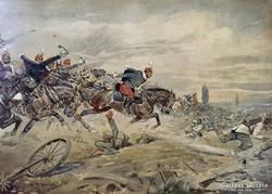 Carl Franz Bauer - Honvédhuszárok (Vörös ördögök) rohama