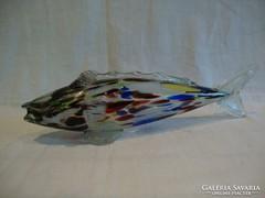 Színes retro üveg hal szobor