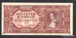 Százezer B.-pengő 1946.    EF++!
