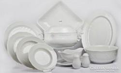 Hollóházi porcelán  Pannónia fehér étkészlet 26 részes