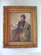 Szegő A. Juhász portré, súlyos aranyozott blondel keretben