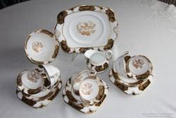 Antik angol Tuscan teás és süteményes készlet, 6 személyes