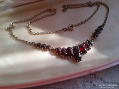Régi cseh gránátköves ezüst collier