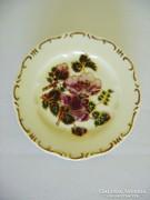 Zsolnay Bordó virág mintás kis dísz tányér. Hibátlan!