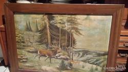 Festmeny szarvas boges fenyoerdo szelen a festmeny 90cmx6ocm