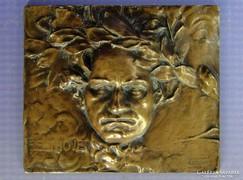 0G565 Franz Stiasny jelzett BEETHOVEN bronzplakett