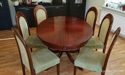 Antik mahagóni étkezőasztal 6 székkel