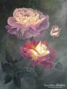 Rózsák, csendélet,festmény
