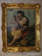 Pipára gyújtó cigánylány olaj-vászon festmény 99x79 cm