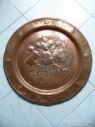 Hatalmas chilei címeres réz falitál 50cm