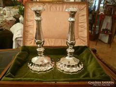 Dianás ezüst gyertyatartó pár