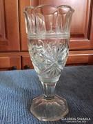 Régi öntött, csiszolt üveg kehely, antique cut glass vase