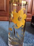 Arannyal festett üvegváza - gold flower painted glass vase