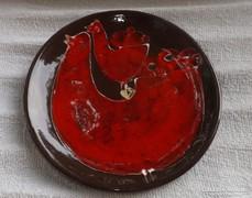 Iparművészeti fali tányér kakasos  motívum gyönyörű