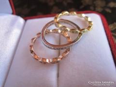 Sárga arany, rozé arany és ezüst gyűrű 3 az 1-ben