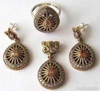 Török ezüst szett - gyűrű-fülbevaló-medál lánc nélkül