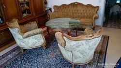 Bécsi  barokk,dúsan faragott 3 darabos ülőgarnitura