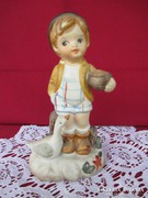 Kézzel festett porcelán figura libával  0417