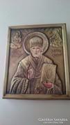 Rézborítású Szent Miklós ikon