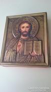 Jézus ábrázolású, rézborítású ikon