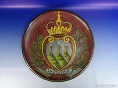 0H249 Nagyméretű kerámia falitál San Marino címer