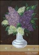 0H326 Orgonás asztali virágcsendélet Kovács B.