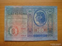 *** Hajtatlan (!!) 1912-es bélyegzés nélküli 100 korona! ***