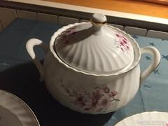 Porcelán étkészlet virág mintával - nagyon sok darabból álló