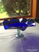 Fodros kék üvegtál - blue, green art glass bowl
