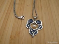 Szecessziós gyöngyös ezüst medál + ezüst nyaklánc