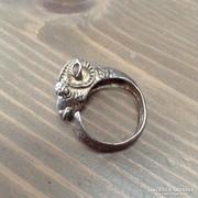 Régi különleges készítésű kos fejes ezüst gyűrű