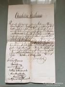 Judaika igazolás, kézzel írott, Pesth 1864.