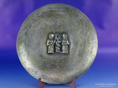 0G592 Régi jelzett TEVAN MARGIT ezüstözött tányér