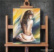 Akt színes fényben  Festmény