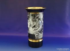 0H768 Szász Endre Hollóházi porcelán váza 30.5 cm
