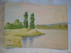 Romhányi mini akvarell tájkép festmény