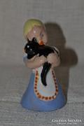 Komlós kerámia kislány cicával