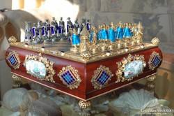 Aranyozott ezüst sakk készlet