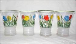 4 db. tulipános festett pohár